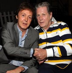 Paul McCartney and Brian Wilson-Born 2 days apart! They gave the world great rock'n roll music that will live on forever! Brian Wilson, Carl Wilson, I Love Music, Music Is Life, Paul And Linda Mccartney, Sir Paul, The Beach Boys, Rockn Roll, The Fab Four