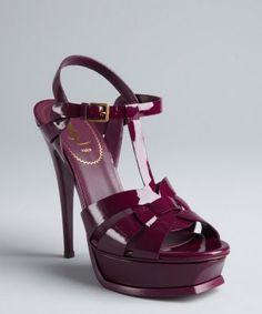 Yves Saint Laurent : purple patent leather 'Tribute 105' t-strap platform sandals