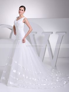 Ribbon Trimmed Sleeveless Organza and Satin Wedding Gown