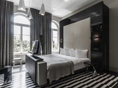 black and white room interior