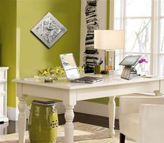 Contemporary Home Office with Metal #Wall_Art Clock