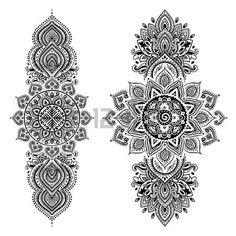 Set of ornamental Indian elements and symbols - Set of ornamental Indian symbols.Ethnic elephant royalty-free set of ornamental indian symbolsethni - Mandala Tattoo Design, Tattoo Designs, Leg Tattoos, Body Art Tattoos, Sleeve Tattoos, Symbol Tattoos, Tattoo Arm, Tattos, Lotus Tattoo