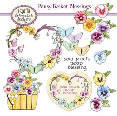 INSTANT DOWNLOAD Pansy Basket Blessings by karladornacher on Etsy