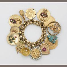 Vintage 14k Gold and Enamel Charm Bracelet