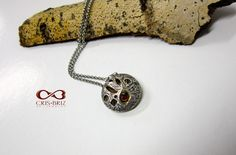 Locket closed and revealing a garnet inside. Washer Necklace, Pendant Necklace, Jewelry Art, Garnet, Jewels, Handmade, Granada, Hand Made, Jewerly