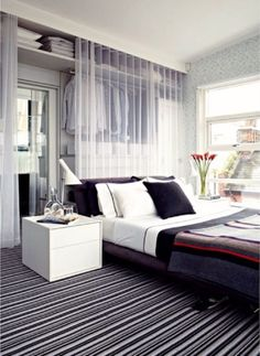 Walk in Wardrobe Behind Bed Designs fit modern bedrooms, Collection of Best Walk-in closet behind bed design ideas to provide more space for small bedrooms. Small Closet Space, Small Space Bedroom, Small Rooms, Small Spaces, Small Beds, Small Bathrooms, Small Apartments, Bedroom Storage Ideas For Clothes, Small Bedroom Storage