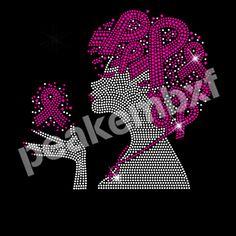 Pink Ribbon Afro Girl Custom Rhinestone Transfers Wholesale 30 pcs/lot