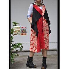 Tunique robe pans croisés chasuble noir rouge fleurs A