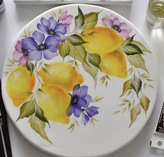 Acrylic Painting Flowers, One Stroke Painting, Fabric Painting, Mexican Paintings, Veggie Art, Cherry Kitchen, Painted Plates, Islamic Art, Cookie Decorating