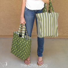 Sewing Tutorial: Reversible Shopping Bags - How to make a set of two large, sturdy, reusable, shopping tote bags.Reversible Shopping Bags For once, it is easy being green! You'll love taking these cute totes to the grocery store with you.Reversible S Sewing Basics, Sewing Hacks, Sewing Tutorials, Sewing Crafts, Sewing Tips, Sewing Ideas, Bag Patterns To Sew, Sewing Patterns, Japanese Knot Bag