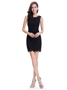 Lace Sleeveless Little Black Dress - Ever-Pretty US