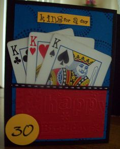 30th Birthday Card using old playing cards.