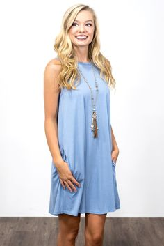 Sleveless Swing Style Piko Dress in Serenity
