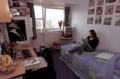 A standard single bedroom in McLaren House