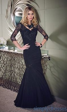Love this dress for my daughter's wedding!!!  Long V-Neck Gown with Sheer Sleeves at SimplyDresses.com