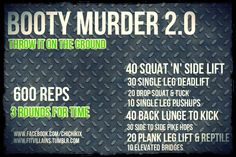 "fitvillains:   ""Holy SCHMOKES! just finished booty murder 2.0 … could only get through 2 rounds! WOW!!"" Via Lena  Did you miss Booty Murder 2.0? It's intense, but anyone can modify it for their level! Send me your times once you bang it out! Instructions and details here. xo"