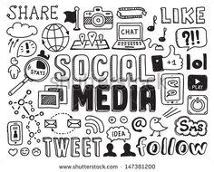 Ilustración vectorial dibujada a mano conjunto de señales sobre medios de comunicación social y elementos de símbolos garabateados. Aislado en fondo blanco