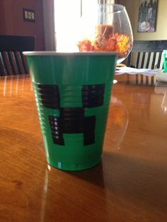 Minecraft creeper solo cup. Perfect for minecraft birthday party!