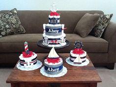 Es un niño náutica ancla pañal Cake bebé por bearbottomdiapercakes