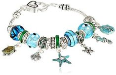 Silver Tone Metal And Glass Beach Themed Bead Charm Bracelet Jewelry Gift