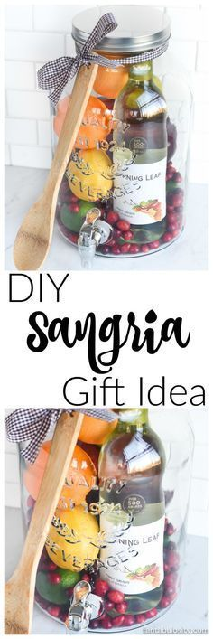 DIY Gift Idea: Sangria for Friends, housewarming, for women, new neighbor, anyone! Who wouldn't love this!? They can even use the drink dispenser again and again!