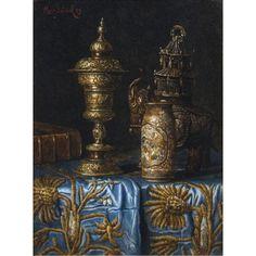 MAX SCHÖDL (AUSTRIAN 1834-1921)  A STILL LIFE OF OBJECTS ON A TABLETOP