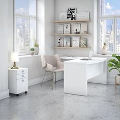 Office by kathy ireland Echo L Shaped Bow Front Desk in Pure White – Bush Furniture – Home Office Design Corner Home Office Space, Home Office Design, Home Office Furniture, Home Office Decor, Home Decor, Office Designs, Business Furniture, Furniture Deals, Online Furniture