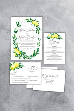 Lemon Wedding Invitation Template, Printable Greenery Invite, RSVP and Details, Fully Editable Text, DIY, L200 Blue Wedding Invitations, Wedding Invitation Templates, Wedding Stationary, Wedding Signs, Diy Wedding, Open Bar Wedding, Amalfi Coast Wedding, Bridal Shower Signs, Party Signs