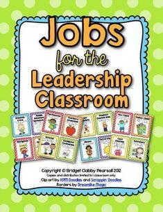 Editable Class Jobs for the Leadership Classroom Classroom Helpers, Classroom Jobs, Classroom Organization, Classroom Management, Class Management, Classroom Discipline, Classroom Signs, Behavior Management, Organizing