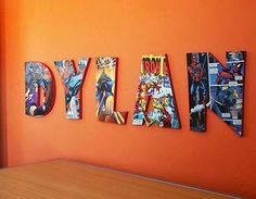 Use MDF wooden letters, a couple of comic books and Mod Podge to create these colorful Comic Book Letters! Mdf Letters, Book Letters, Letter Wall, Craft Letters, Cardboard Letters, Idées Mod Podge, Mod Podge Crafts, Diy Crafts, How To Make Comics
