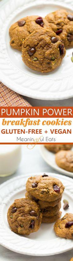 Pumpkin Power Breakfast Cookies! Healthy, gluten-free and vegan cookies. Delicious and kid-friendly!