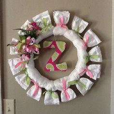 Diaper Wreath.  Use whatever sz wreath form u want. Place diapers around it, overlapping as u go & tying w/desired color scheme ribbon. Embellish as u want. Flowers, ribbon, letters, baby toys etc. Cute 4 baby showers & great to have handy 4 emergency diapers.  Lol.