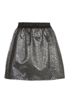 New Look Mobile | Black and Silver Foil Skater Skirt