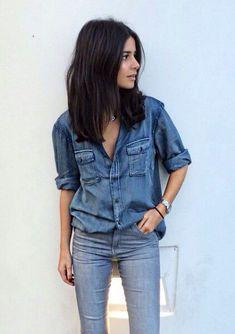 double denim look Look Jean, Denim Look, Denim On Denim, Blue Denim, Denim Style, Denim Fashion, Look Fashion, Fashion Beauty, Fashion Outfits