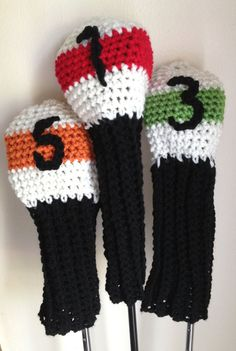 Crochet Golf Club Cover 3-Pack  - 1, 3, 5 Wood Driver - Handmade, Orange, Red, Green, Black, White on Etsy, $50.00