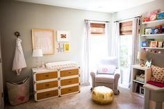 Whimsical nursery with gray and pink accents - #nursery