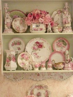pink flowers, pink roses, vintage crockery, shabby chic, wall shelves, vintage china, vintage display, kitchen, vintage roses