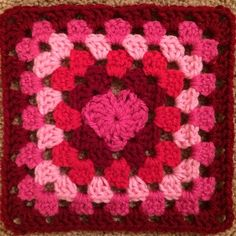 Crochet Mood Blanket 2014: Week 7 granny square for the afghan I am crocheting. Happy Valentine's Day!