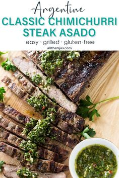 Juicy and delicious, this classic Argentine chimichurri steak is first marinated in flavorful and colorful chimichurri sauce then grilled to perfection that packs a ton of flavor. | allthatsjas.com | #steak #flanksteak #skirtsteak #BBQ #grilling #chicmichurri #sauce #pesto #easy #allthatsjas #glutenfree #holidaymeal #cookout #recipes #internationalfood #argentine #parsley #oregano #garlic #beef #asado Beef Steak Recipes, Ground Beef Recipes, Grilling Recipes, Lamb Recipes, Meat Recipes, Recipe Using Cilantro, Potted Beef Recipe, Smoking Recipes, Skirt Steak