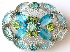 Verified Juliana Blue Green Art Glass Brooch by JewelryQuestDesign, $52.99