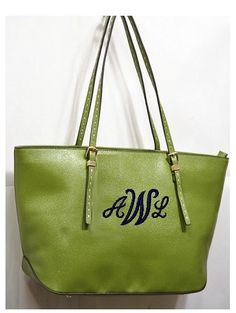 Leather Like Personalized Monogram Embroidered  by ladylinenco, $49.99