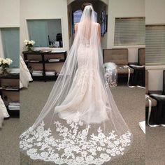 Cathedral Lace Bridal Veil Wedding Accessory One Layer with Comb Delicate Appliqued Bride Hair Accessory