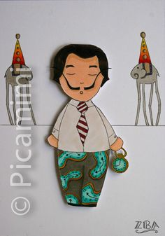 Salvador Dali... visit www.picamimi.com for more Salvador Dali, Copic, Drawings, Artwork, Pictures, Character, Icons, Illustrations, Photos