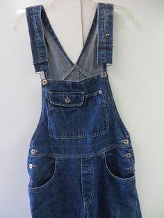 Vintage women's silver jeans bib denim overalls, baggy 15