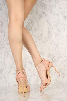 43c86ca0c2f Blush Open Toe Straps Single Sole High Heels Nubuck. High Heel Pumps