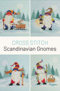 Stitch four adorable gnomes with these cross stitch kits. They come with everything you need, so they're great for beginners.