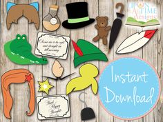 DESCARGAR INSTANT - Peter Pan Photobooth Props - imprimible - Tinkerbell, Tigerlily, sirena