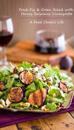 Brushed with olive oil and grilled, luscious sweet figs make a delicious Grilled Fig Salad with Arugula and Honey Balsamic Vinaigrette.
