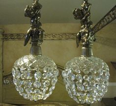 SWAG Lamp Hanging CHERUBS Crystal and Brass Raining GLASS Electric