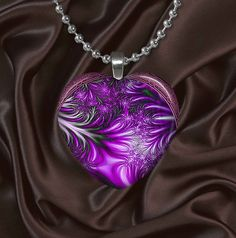 Puffy Heart Glass Tile Pendant Necklace Feathered by IzzysPlace, $12.95